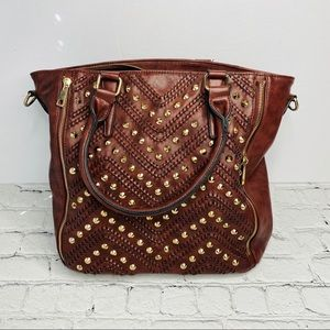 Large Brown Studded Shoulder Bag Purse Tote Zip